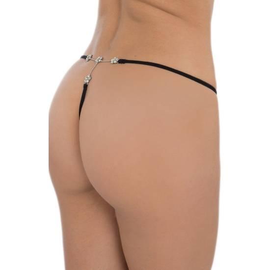 TANGA CON BROCHE DE PEDRERÍA FLORES SIN COSTURAS NEGRO - Lenceria Sexy Femenina Braguitas y Tangas -Sex Shop ARTICULOS EROTICOS