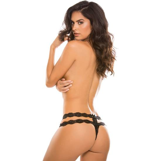 TANGA CROTCHLESS  RHAPSODY - NEGRO - Lenceria Sexy Femenina Braguitas y Tangas -Sex Shop ARTICULOS EROTICOS