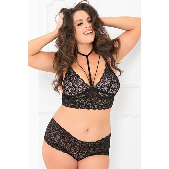 2PC LACE CHOKER BOYSHORT SET - Lenceria Sexy Femenina Conjuntos - Sex Shop ARTICULOS EROTICOS