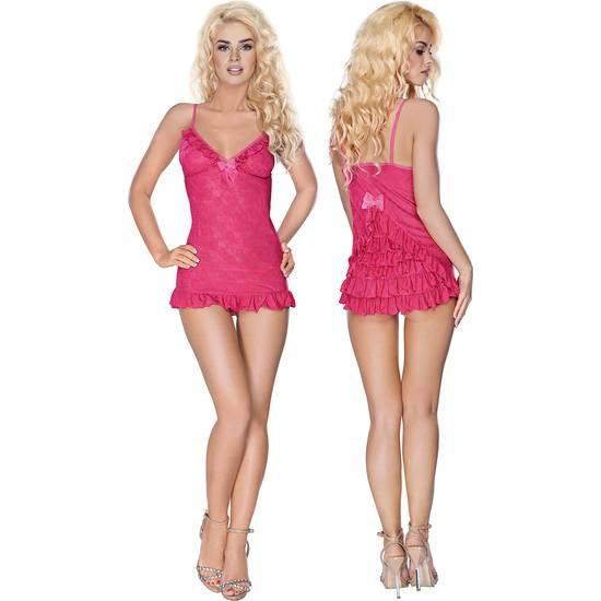 BABYDOLL CON ABERTURAS Y TANGA A JUEGO ROSA - Lenceria Sexy Femenina Conjuntos - Sex Shop ARTICULOS EROTICOS