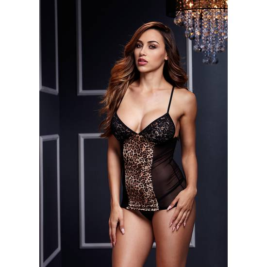 BACI CAMISA CON TANGA DE LEOPARDO Y TRANSPARENCIAS - Lenceria Sexy Femenina Conjuntos - Sex Shop ARTICULOS EROTICOS