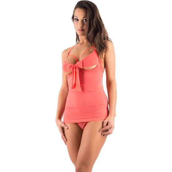 CARAMEL NUIT - SET DE BODY CON TANGA A JUEGO + PÉTALOS - Talla S/M | LENCERIA CONJUNTOS | Sex Shop