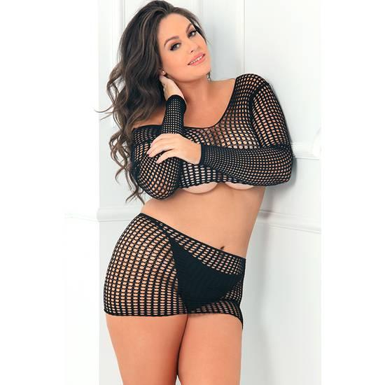 CROCHET CONJUNTO 2 PIEZAS NEGRO - Lenceria Sexy Femenina Conjuntos - Sex Shop ARTICULOS EROTICOS