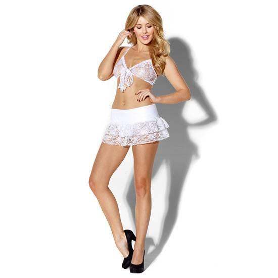 KISS ME INNOCENT IDOL TOP Y FALDA BLANCO - Talla XL | LENCERIA CONJUNTOS | Sex Shop