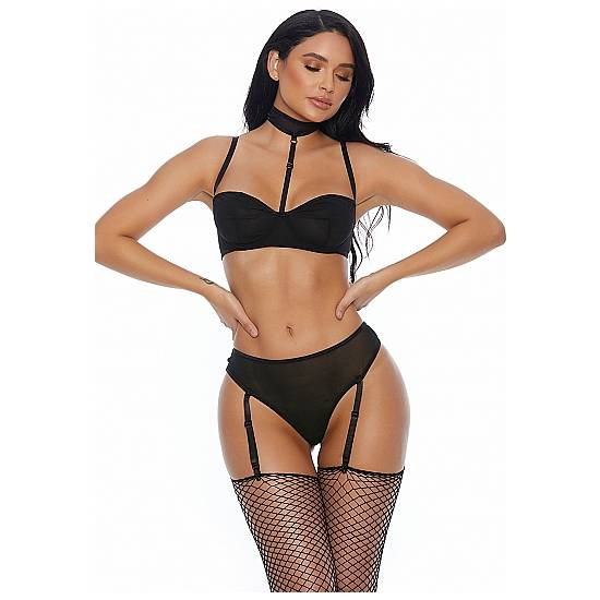 RIGHT SHEER RIGHT NOW CONJUNTO 2 PIEZAS CON LIGUEROS - NEGRO - Lenceria Sexy Femenina Conjuntos - Sex Shop ARTICULOS EROTICOS