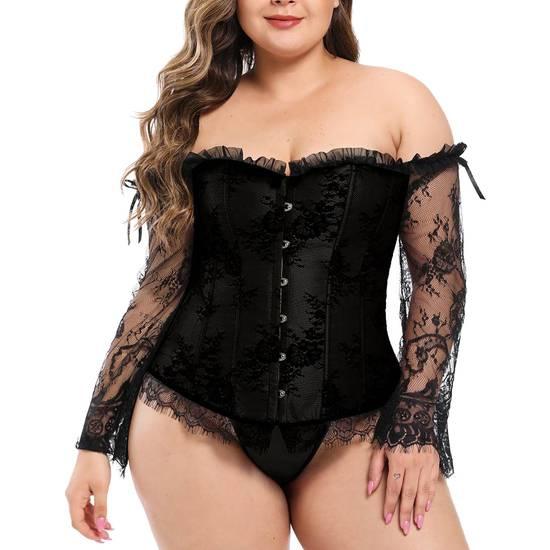 CORSET VINEYARD NEGRO - Lenceria Sexy Femenina Bodys - Sex Shop ARTICULOS EROTICOS