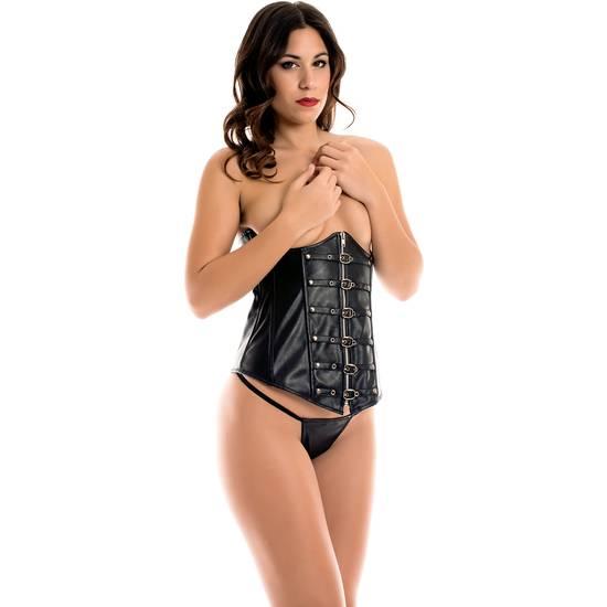 CARAMEL NUIT - SET DE UNDERBUST CON TANGA +  LIGUEROS - Talla M/L/XL | LENCERIA CORSES | Sex Shop
