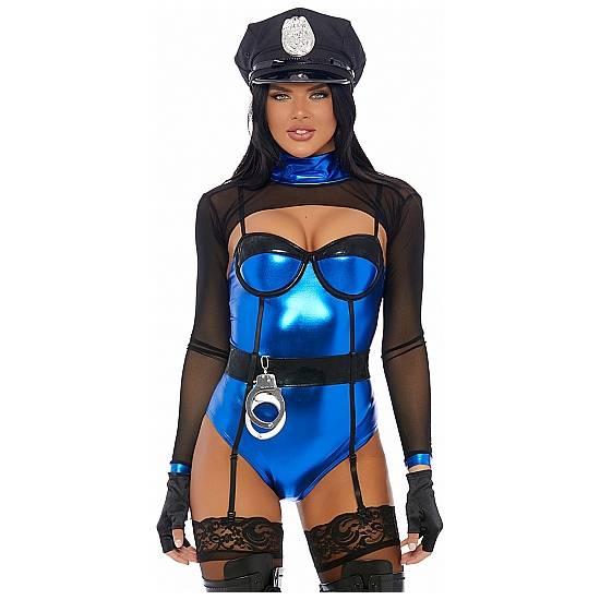DISFRAZ DE POLICÍA CON CORSET Y ESPOSAS - AZUL - Disfraces Eróticos Corbatas - Sex Shop ARTICULOS EROTICOS