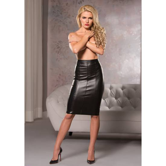 FAUX LEATHER KNEE LENGTH SKIRT - Mujer Sexy Vestidos - Sex Shop ARTICULOS EROTICOS