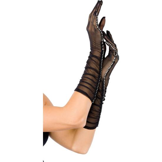LEG AVENUE GUANTES DE SATEN CON DETALLE LAZO LA MUÑECA NEGRO - Talla U | LENCERIA GUANTES | Sex Shop
