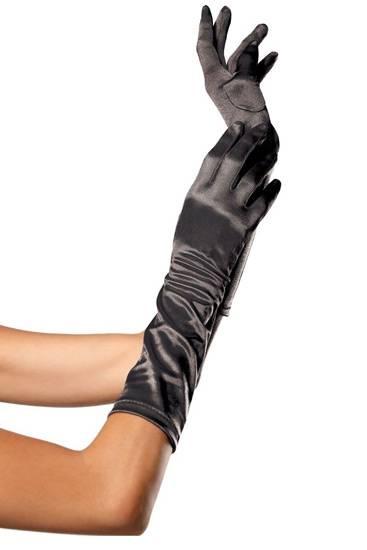 LEG AVENUE GUANTES SATINADOS DE COLOR NEGRO - Talla U | LENCERIA GUANTES | Sex Shop