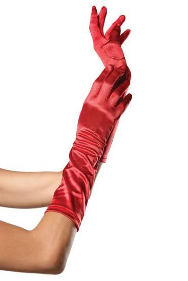 LEG AVENUE GUANTES SATINADOS DE COLOR ROJO - Talla U | LENCERIA GUANTES | Sex Shop