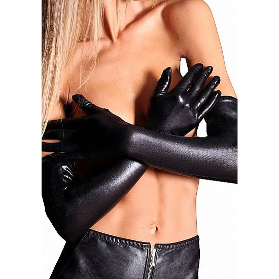 LONG WETLOOK GUANTES LARGOS NEGRO - Lenceria Sexy Femenina Guantes - Sex Shop ARTICULOS EROTICOS