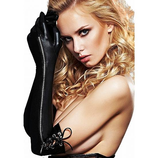 LONG WETLOOK GUANTES NEGRO - Lenceria Sexy Femenina Guantes - Sex Shop ARTICULOS EROTICOS