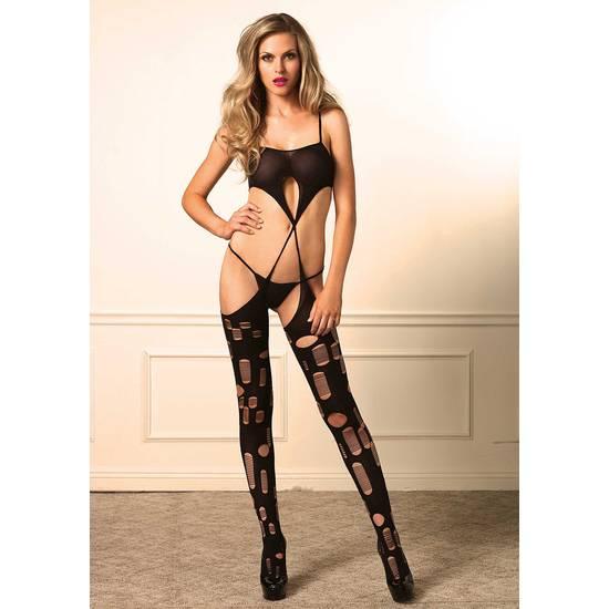 LEG AVENUE BODY DESFIBRADO CON LIGAS - Talla U | LENCERIA MALLAS | Sex Shop