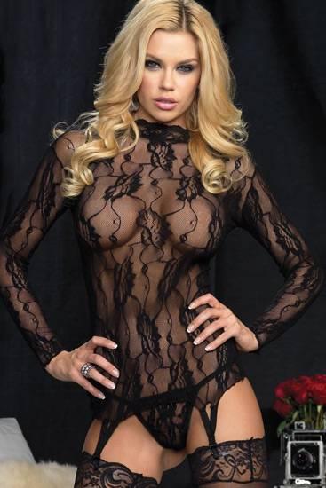 LEG AVENUE CAMISETA DE MANGA LARGA DE ENCAJE CON LIGUERO Y TANGA - Talla U | LENCERIA MALLAS | Sex Shop