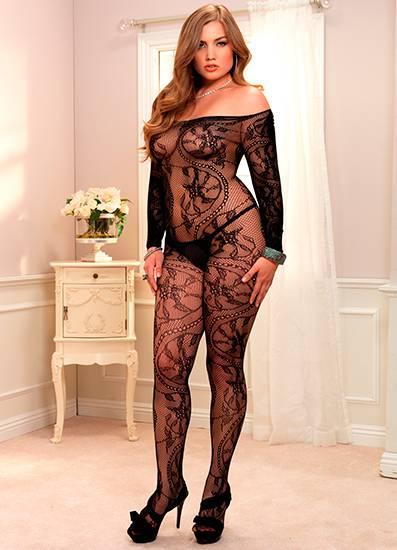 LEG AVENUE MALLA DE ENCAJE TIPO ESPIRAL - Talla UP | LENCERIA MALLAS | Sex Shop
