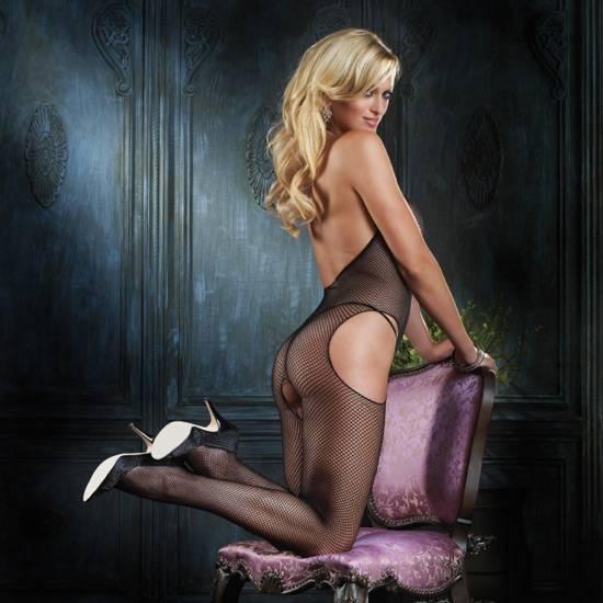 LEG AVENUE MALLA DE RED CON ABERTURAS Y ESCOTE HALTER EN V - Talla U | LENCERIA MALLAS | Sex Shop