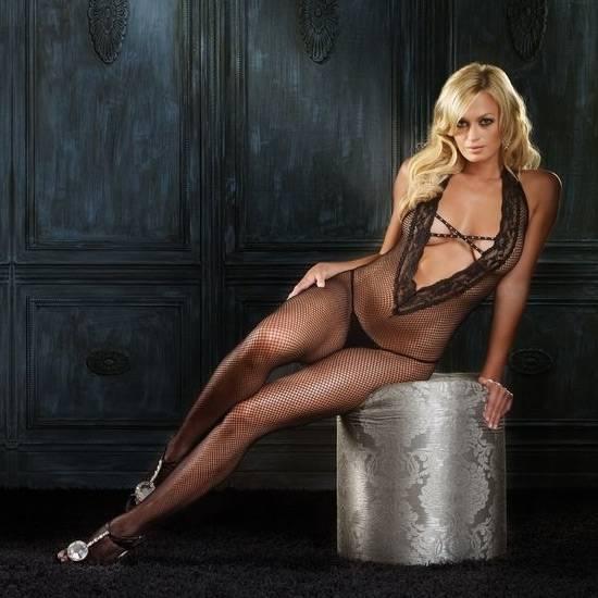 LEG AVENUE MALLA DE RED CON ACABADO EN ENCAJE Y DETALLE ENTRELAZADO - Talla U | LENCERIA MALLAS | Sex Shop