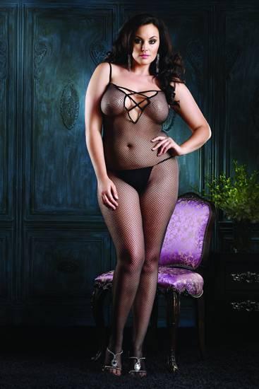 LEG AVENUE MALLA DE RED CON ESCOTE EN V ENTRELAZADOS PLUS - Talla UP | LENCERIA MALLAS | Sex Shop