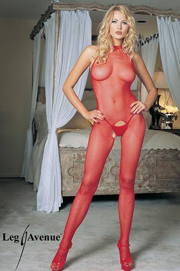 LEG AVENUE MALLA DE RED Y ESCOTE HALTER ROJA - Talla U | LENCERIA MALLAS | Sex Shop