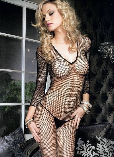 LEG AVENUE MALLA DE REJILLA EN MANGA LARGA Y ESCOTE EN V - Talla U | LENCERIA MALLAS | Sex Shop