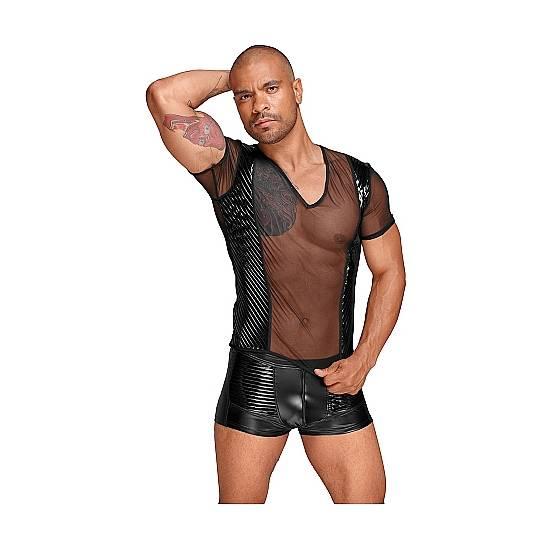 CAMISETA PVC CON TRANSPARENCIAS - NEGRO - lenceria Sexy Masculina Body - Sex Shop ARTICULOS EROTICOS