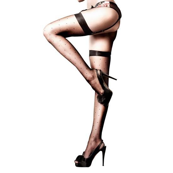 BACI MEDIA OPACA HASTA EL MUSLO DE LUNARES - Talla U | LENCERIA MEDIAS | Sex Shop