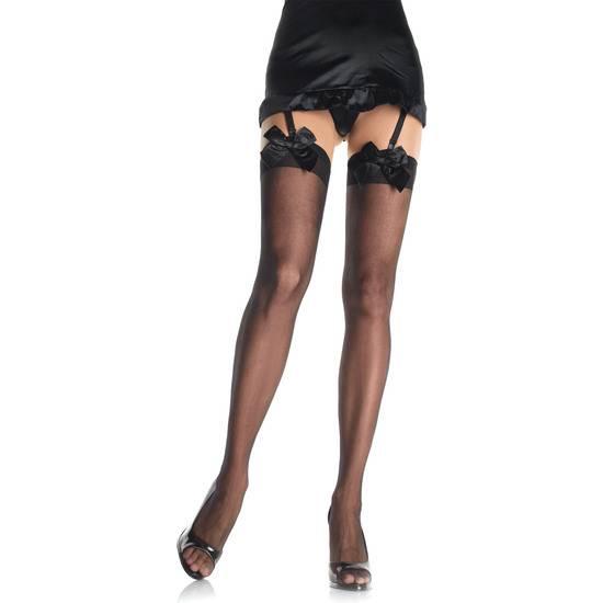 LEG AVENUE MEDIAS TRANSPARENTES CON LAZO NEGRO - Lenceria Sexy Femenina Medias - Sex Shop ARTICULOS EROTICOS