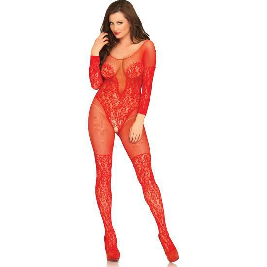 LEG AVENUE VINE LACE AND NET BODYSTOCKING ROJO - Lenceria Sexy Femenina Bodys - Sex Shop ARTICULOS EROTICOS