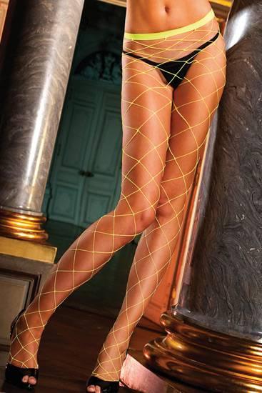 BACI PANTIES DE RED TIPO DIAMANTE AMARILLO FLUOR - Lenceria Sexy Femenina Pantys - Sex Shop ARTICULOS EROTICOS