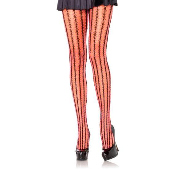 LEG AVENUE PANTIES DE RED CONTRASTE NEGRO-ROSA NEON - Lenceria Sexy Femenina Pantys - Sex Shop ARTICULOS EROTICOS