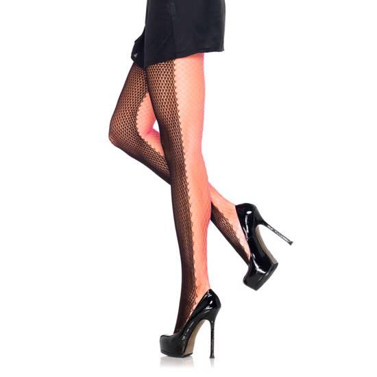 LEG AVENUE PANTIES DE RED NEGRO-ROSA NEON - Lenceria Sexy Femenina Pantys - Sex Shop ARTICULOS EROTICOS