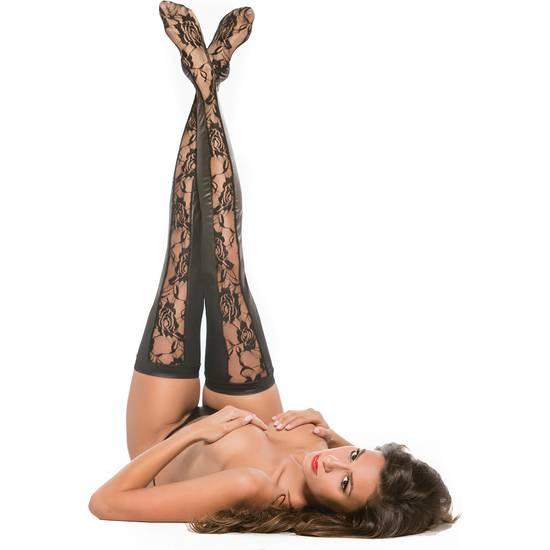 PANTYS DE ENCAJE CON FLORES NEGRO - Lenceria Sexy Femenina Medias - Sex Shop ARTICULOS EROTICOS
