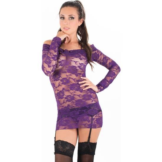 CARAMEL NUIT - SET DE VESTIDO CON TANGA A JUEGO + LIGUEROS + MEDIAS - Talla S/M | LENCERIA PICARDIAS | Sex Shop