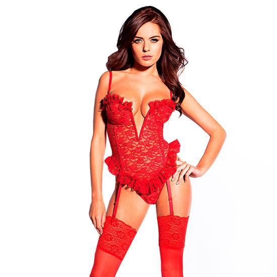 KISS ME LUSTY LADY CORSE Y TANGA ROJO - Talla XXXL | LENCERIA PICARDIAS | Sex Shop