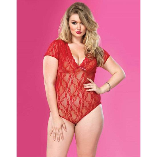 LEG AVENUE BODY ENCAJE MANGA CORTA Y ESCOTE TRASERO CON LAZADA PLUS ROJO - Talla UP | LENCERIA PICARDIAS | Sex Shop