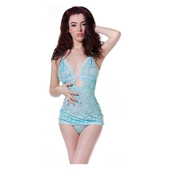 PICARDÍAS ENCAJE & TANGA - AZUL - Lenceria Sexy Femenina Conjuntos - Sex Shop ARTICULOS EROTICOS