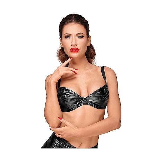 SUJETADOR EFECTO MOJADO CON PLIEGUES - NEGRO - Lenceria Sexy Femenina Sujetador Top - Sex Shop ARTICULOS EROTICOS