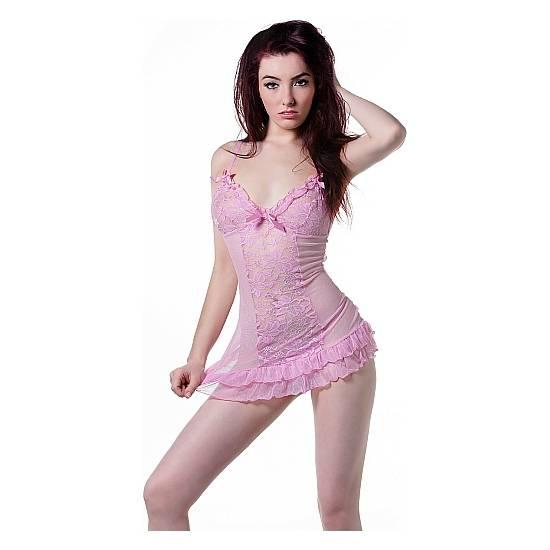 BABYDOLL & TANGA - ROSA - Lenceria Sexy Femenina Conjuntos - Sex Shop ARTICULOS EROTICOS
