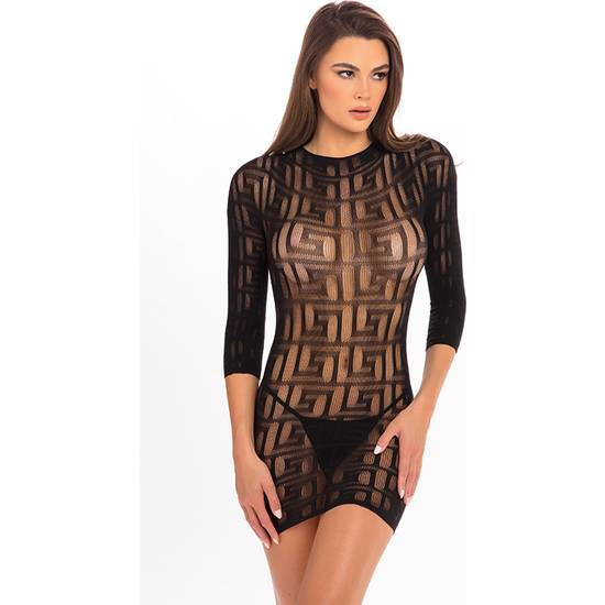 EXOTIC GEOMETRY MINI VESTIDO NEGRO - Lenceria Sexy Femenina Picardias - Sex Shop ARTICULOS EROTICOS