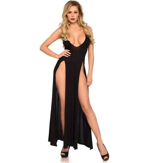 LEG AVENUE MAXI VESTIDO CON ESCOTE PROFUNDO EN V - Lenceria Sexy Femenina Picardias - Sex Shop ARTICULOS EROTICOS