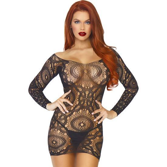 MINI VESTIDO CROCHET MANGA LARGA - NEGRO - Mujer Sexy Vestidos - Sex Shop ARTICULOS EROTICOS