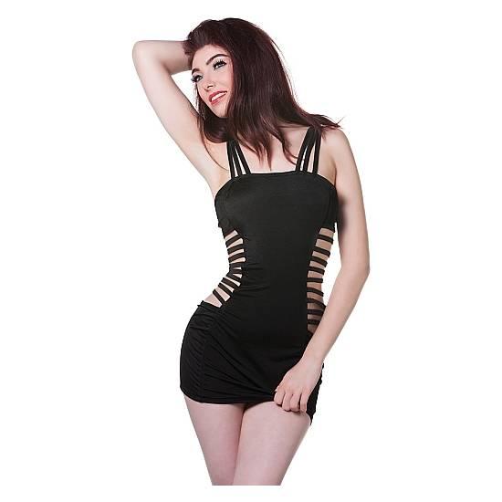 MINI VESTIDO NEGRO ABERTURAS LATERALES - Mujer Sexy Vestidos - Sex Shop ARTICULOS EROTICOS