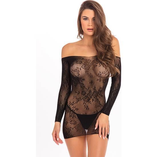 OPEN SEASON  MINI VESTIDO HOMBROS DESCUBIERTOS - NEGRO - Lenceria Sexy Femenina Pantys - Sex Shop ARTICULOS EROTICOS