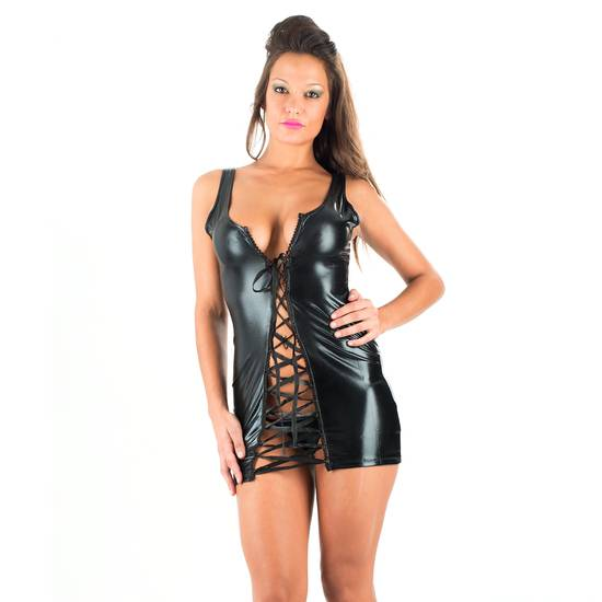 VESTIDO AOSTA NEGRO - Lenceria Sexy Femenina BDSM - Sex Shop ARTICULOS EROTICOS