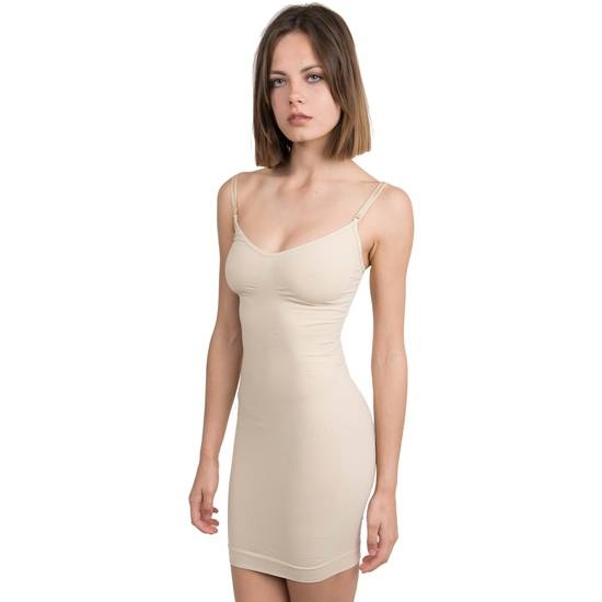 VESTIDO REDUCTOR CON FORMA DE PECHO Y TIRANTES CON TECNOLOGÍA BIOTECH BEIGE DE ANAISSA - Mujer Sexy Vestidos - Sex Shop ARTICULOS EROTICOS