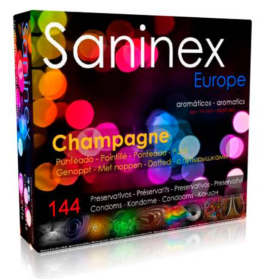 SANINEX PRESERVATIVOS CHAMPAGNE AROMATICO PUNTEADO 144 UDS - Cosmética Erótica Preservativos Aromáticos-Sex Shop ARTICULOS EROTICOS