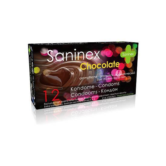 SANINEX PRESERVATIVOS CHOCOLATE 12UDS - Cosmética Erótica Preservativos Aromáticos-Sex Shop ARTICULOS EROTICOS