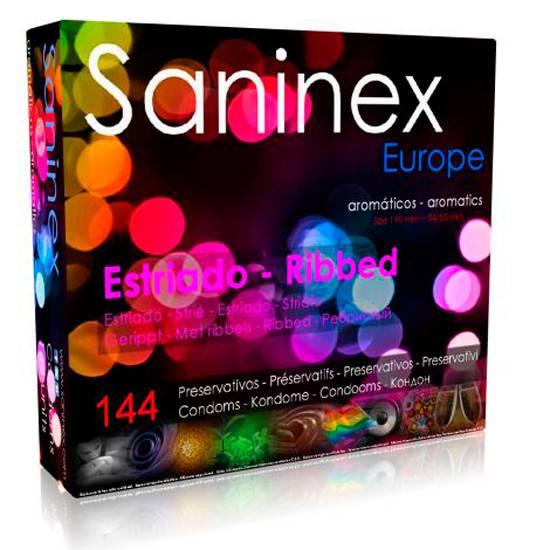 SANINEX PRESERVATIVOS ESTRIADO AROMATICO 144 UDS - Cosmética Erótica Preservativos Aromáticos-Sex Shop ARTICULOS EROTICOS